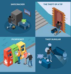 Thief isometric design concept vector
