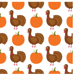 Turkey and pumpkin cartoon thanksgiving seamless vector