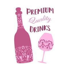Unique vilolet design bottle and glass vector