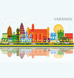 varanasi india city skyline with color buildings vector image