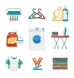 Washing and laundry flat icons vector image