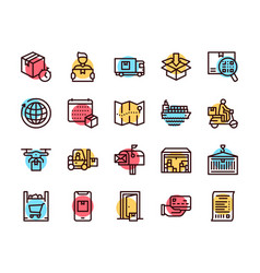Worldwide post delivery linear icons set vector