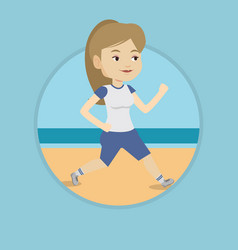 young sporty woman jogging on the beach vector image