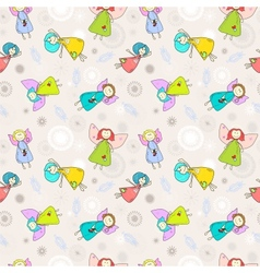 Cartoon romantic seamless pattern with angels vector image vector image
