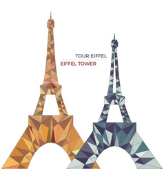 Eiffel towers in low poly style vector image vector image