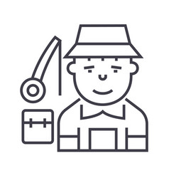 fisherman line icon sign on vector image