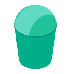 Green trash can with lid icon isometric 3d style vector image vector image