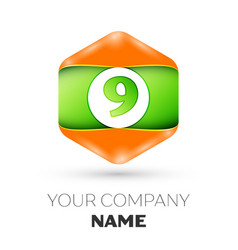 Number nine logo in the colorful hexagonal vector