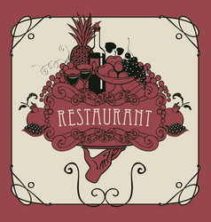 restaurant menu with hand tray and still life vector image vector image