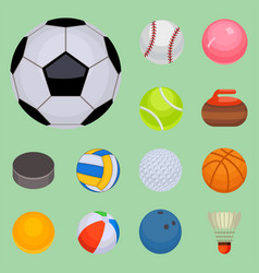set of balls isolated tournament win round basket vector image