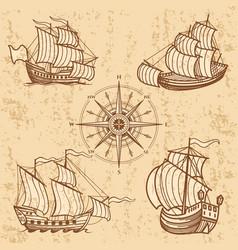 vintage ships collection antique travel boat set vector image vector image