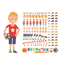 cartoon boy character creation constructor vector image