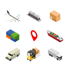 delivery icon set isometric view vector image vector image