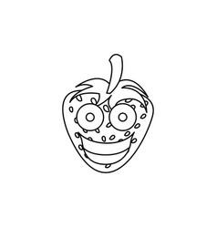 figure kawaii fruits strawberry happy icon vector image