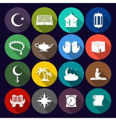 Islam icons set flat vector