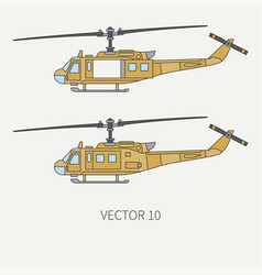 line flat color icon set military turboprop vector image vector image