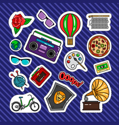 quirky style retro patches vector image
