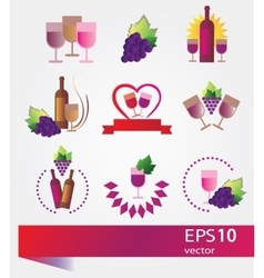 Set of icons for wine vector image vector image