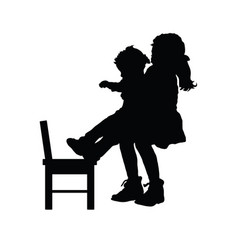 children silhouette with chair vector image vector image
