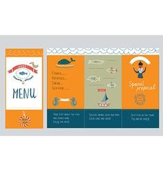 Fish restautant menu design - hand drawn vector image