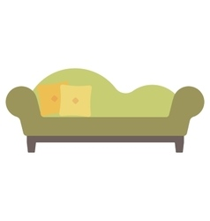 Green chaise lounge with pillows vector image vector image