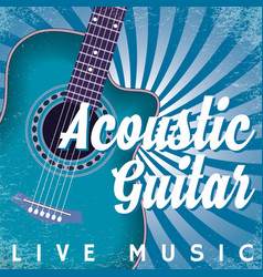 retro poster with swirls and guitar vector image vector image