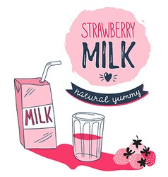Strawberry milk graphic design with stylish milk vector image