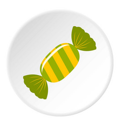sweet candy in green wrap icon circle vector image vector image