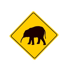 Young elephant warning sign vector image vector image