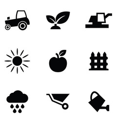 agriculture 9 icons set vector image vector image