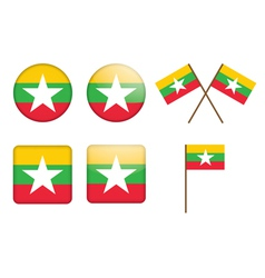 badges with flag of Burma vector image vector image