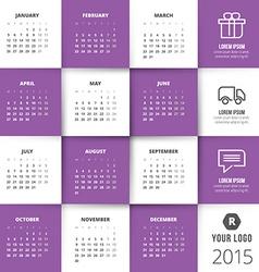 Calendar 2015 template week starts monday vector image