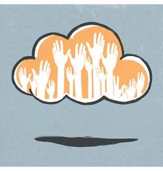 cloud hands vector image