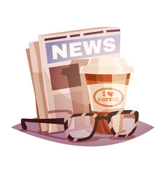 coffee with a newspaper and glasses design concept vector image vector image