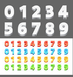 color 3d numbers vector image vector image