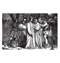 judas betrays jesus in the garden of gethsemane vector image
