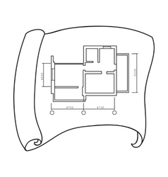 Technical drawing of house icon in outline style vector image vector image