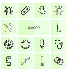 14 macro icons vector