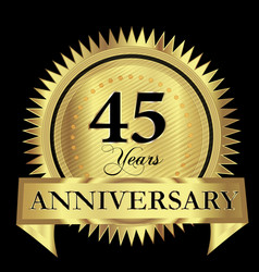 45 years anniversary gold seal logo design vector image
