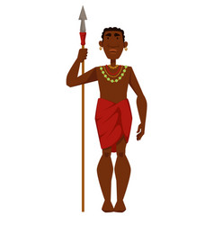 african man warrior tribe member in jewelry vector image