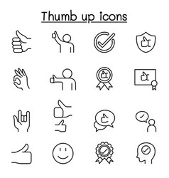 approved thumb up icons set in thin line style vector image