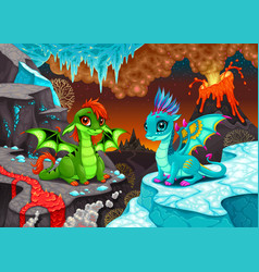 Baby dragons in a landscape with fire and ice vector