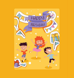 birthday party pattern children characters vector image