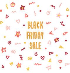 Black friday doodle sales banner set kids vector