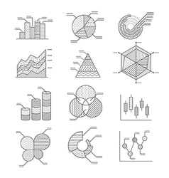 Business graphs diagrams icons set vector image