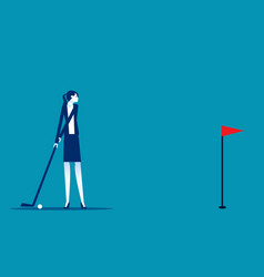 business people hit golf ball into hole vector image