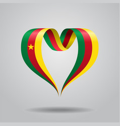 Cameroon flag heart-shaped ribbon vector