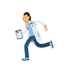 cartoon character doctor with tablet in hand vector image