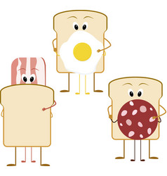 Cartoon sandwich for breakfast bacon bread and vector