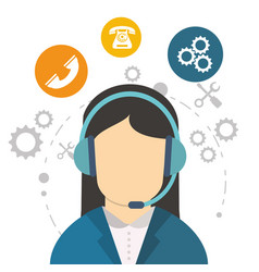 Character call center communication work tool vector